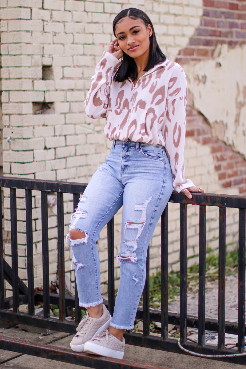 Tabitha Animal Print Pullover - Madison and Mallory