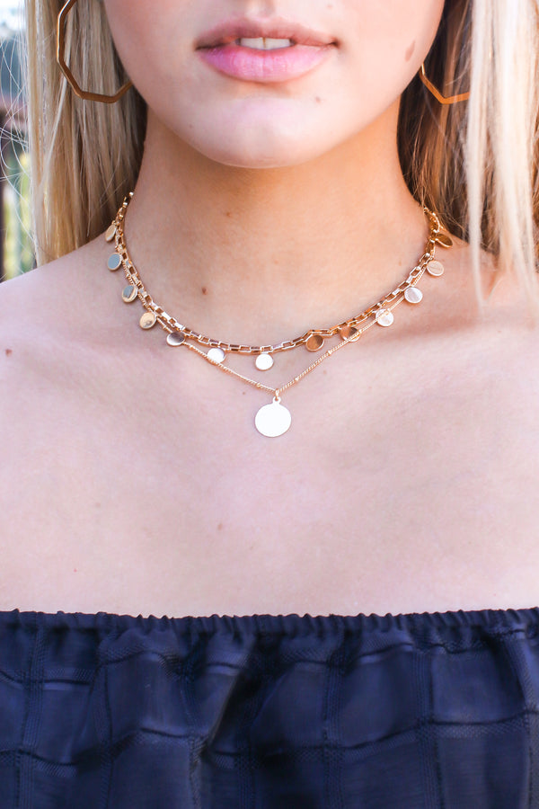 Gold Here to There Coin Layered Necklace - Madison and Mallory
