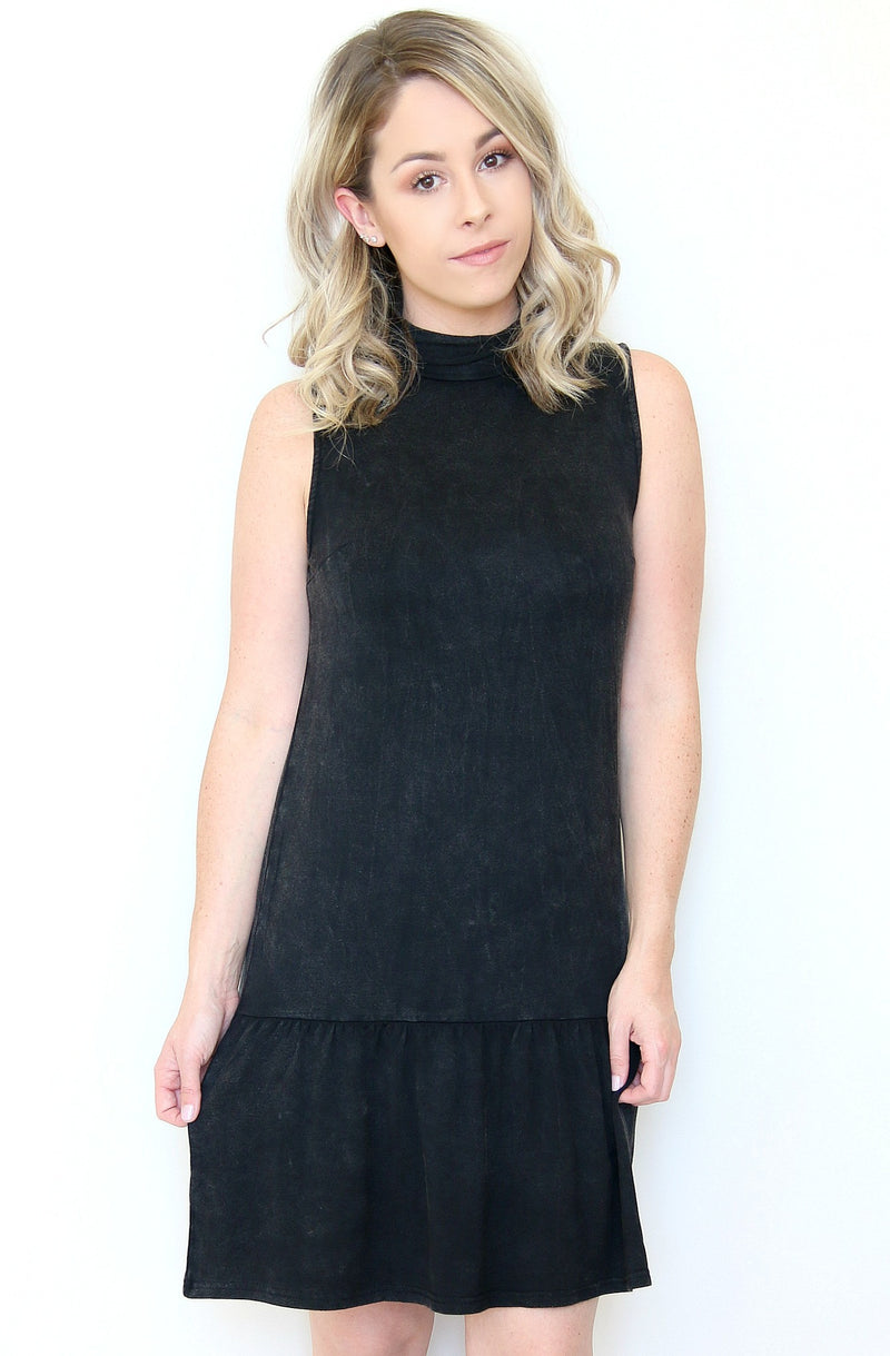 S / Black High Neck Ruffle Hem Dress - Madison + Mallory