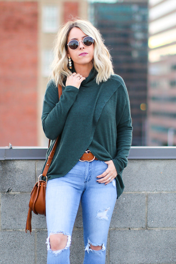 S / Green Brisa Wrapped Mock Neck Top - Madison + Mallory
