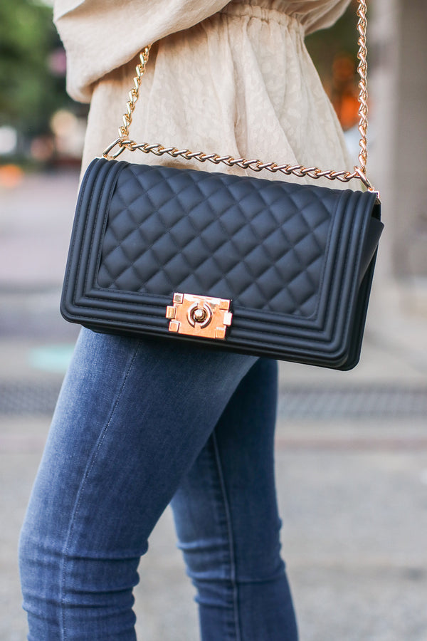Black Smooth Talker Quilted Chain Bag - Madison + Mallory