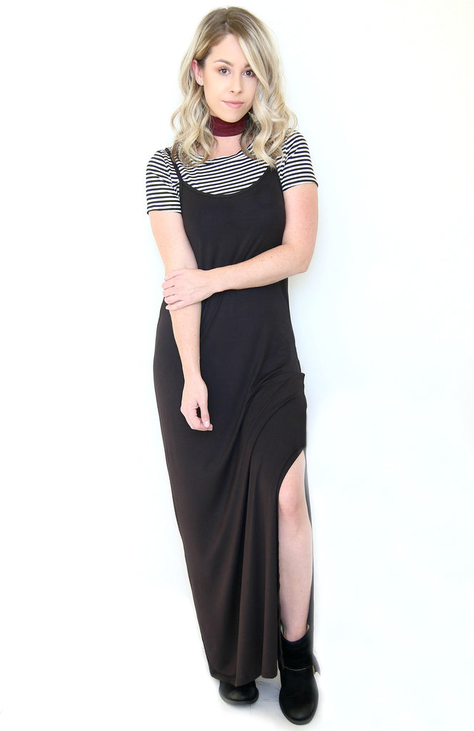 Striped Layered Maxi Dress