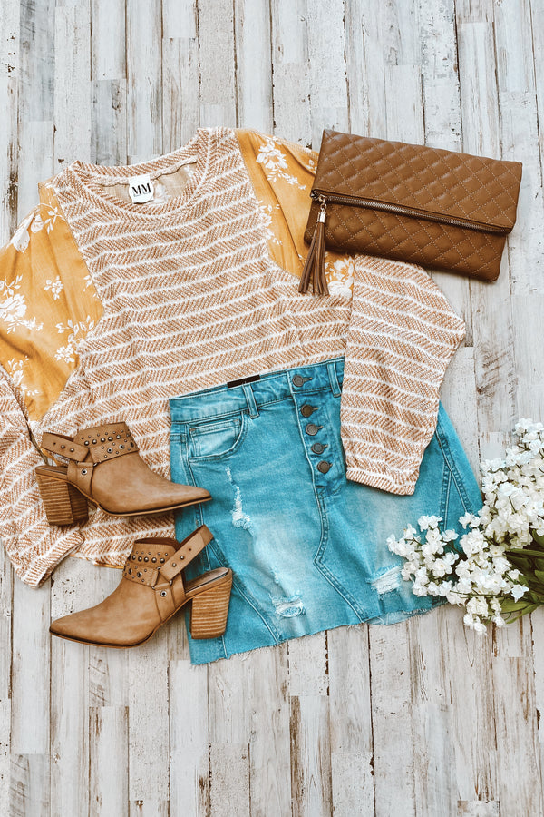Honey, Honey Stripes and Floral Contrast Top - Madison and Mallory
