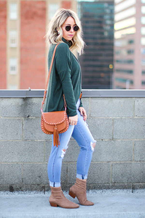 Brisa Wrapped Mock Neck Top - Madison + Mallory