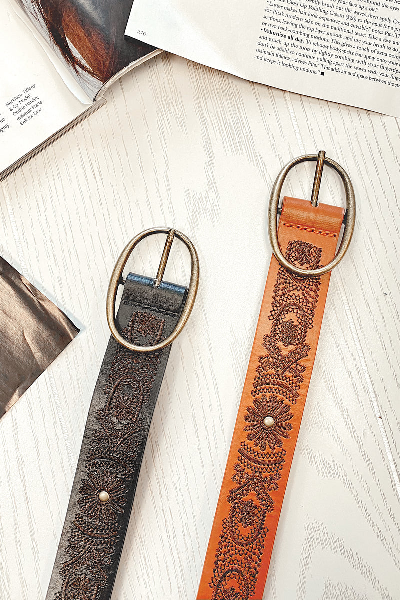 Callaway Floral Embossed Belt - Madison and Mallory