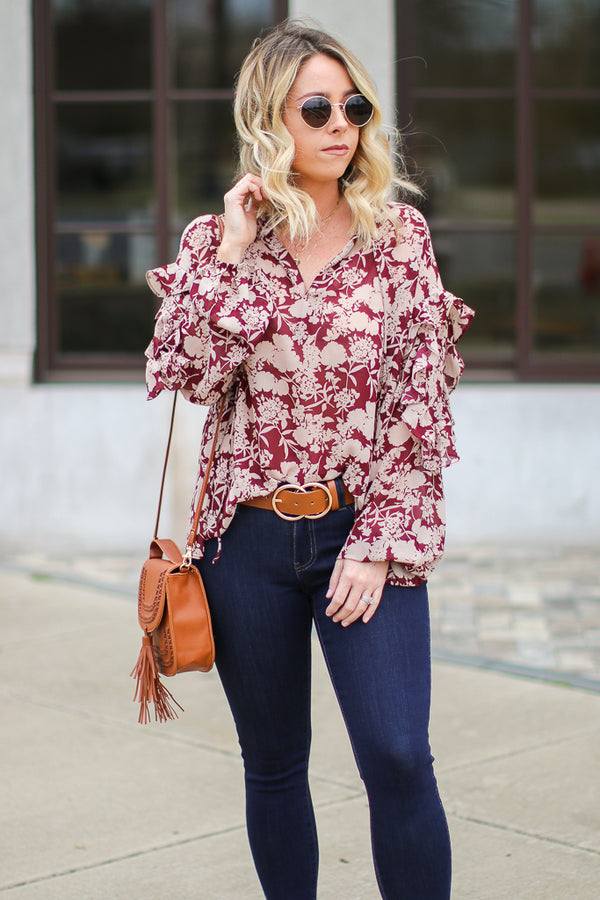 SM / Burgundy Blossoming Path Ruffle Floral Top - FINAL SALE - Madison + Mallory