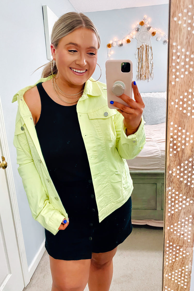 Upgrade Distressed Denim Jacket - Neon Yellow | CURVE - Madison and Mallory