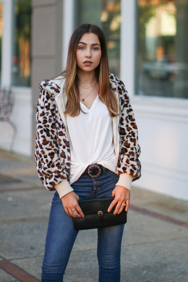 S / Cream Perfect Print Leopard Jacket - Madison + Mallory