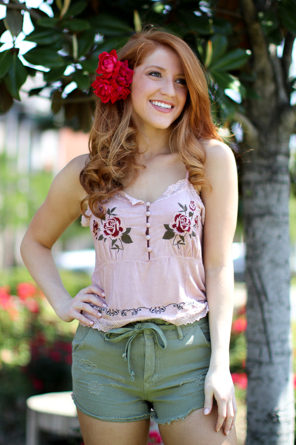 S / Pink Rose Garden Top - Madison + Mallory