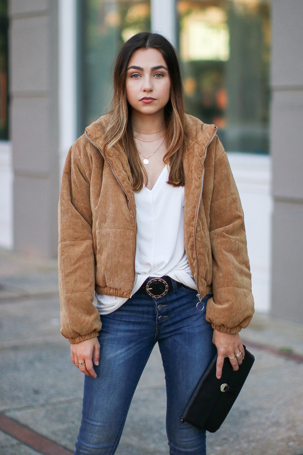Camel / S Daytime Debut Corduroy Puffer Jacket - Camel - Madison + Mallory
