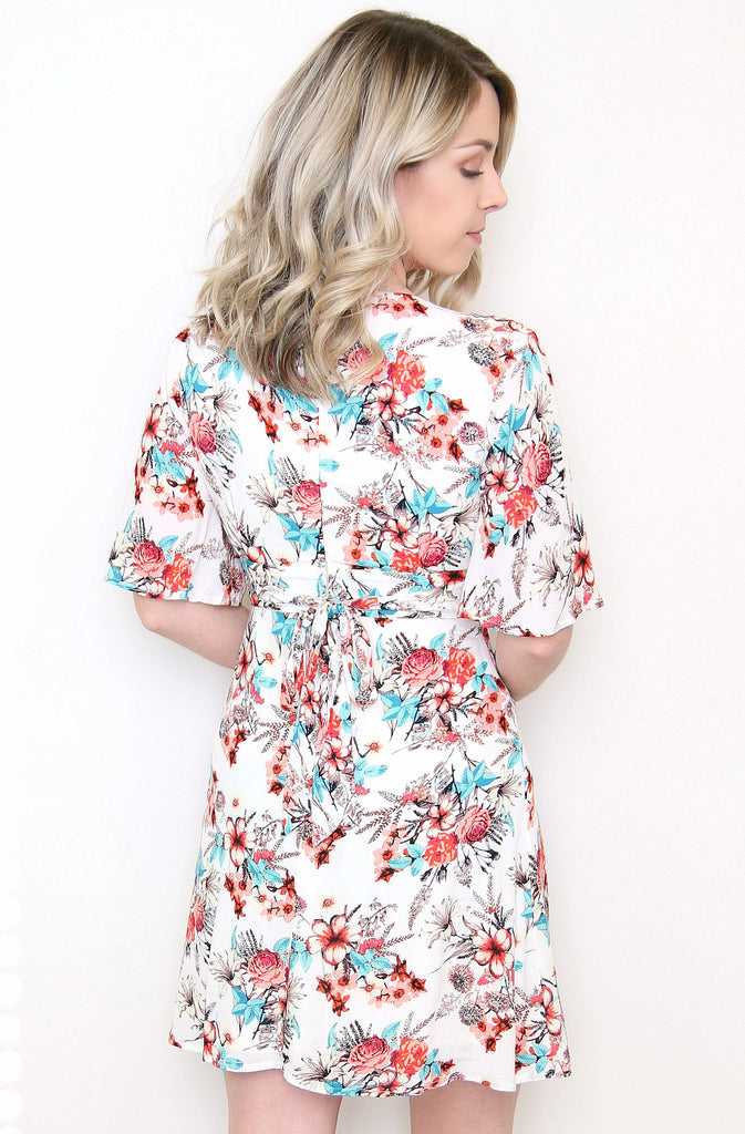 V-Neck Bell Sleeve Floral Dress