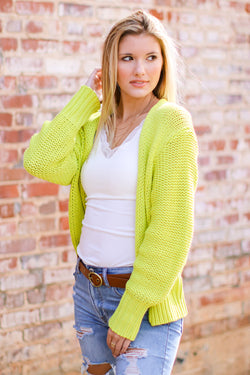 S / Key Lime Promise Me This Knit Cardigan - Madison and Mallory