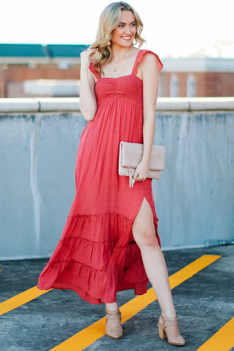S / Marsala Enduring Details Ruffle Maxi Dress - FINAL SALE - Madison and Mallory