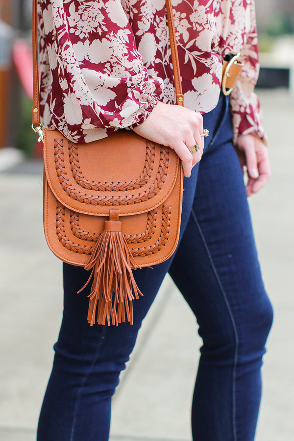 OS / Brown Along the Way Stitched Tassel Crossbody Bag + MORE COLORS - Madison + Mallory