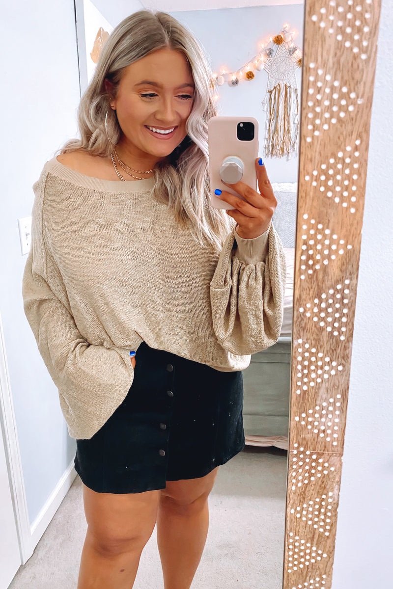 On the Upward Cozy Knit Relaxed Top - Taupe - Madison and Mallory