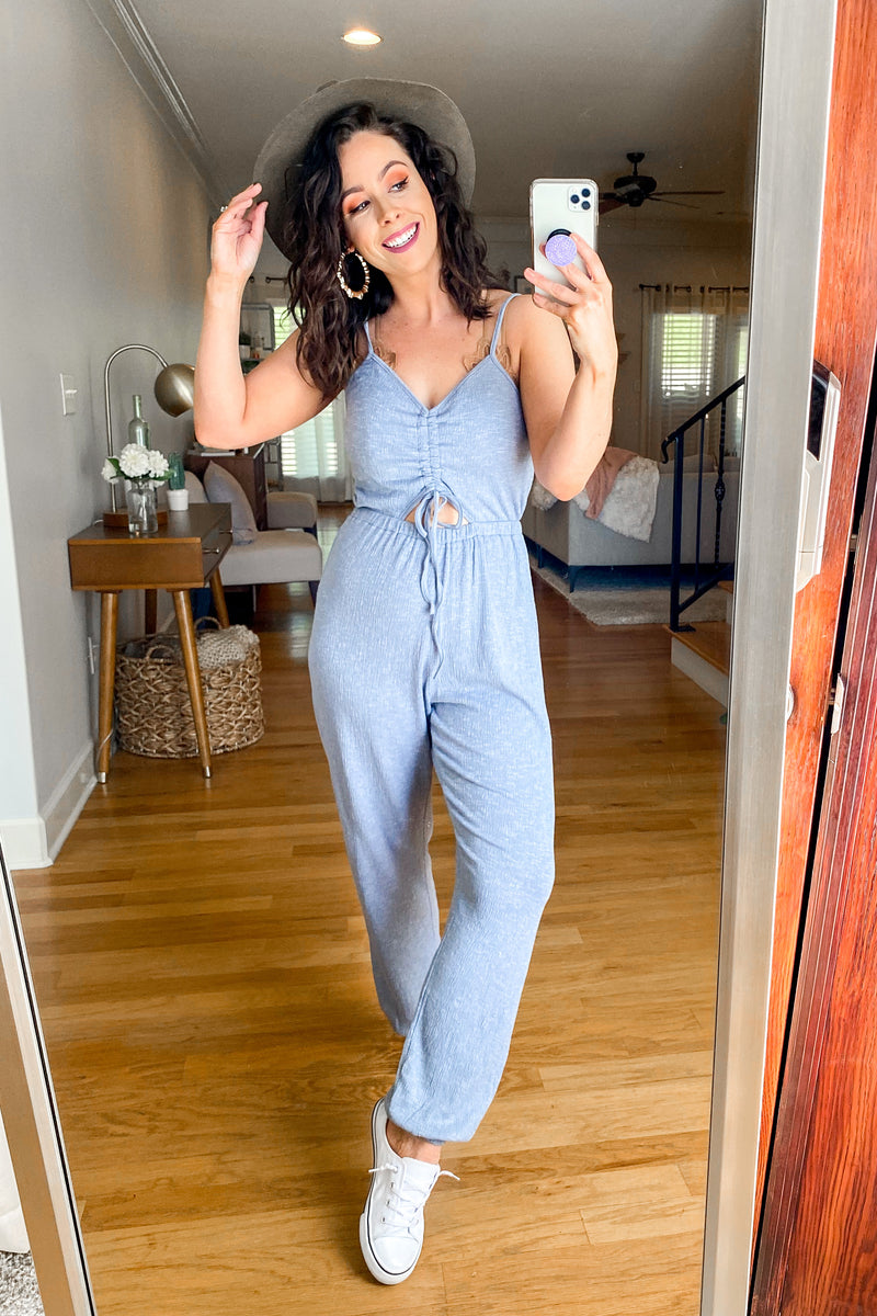 Familiar Territory Cutout Ruched Jumpsuit - Madison and Mallory