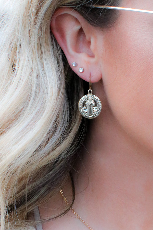 OS / Gold Lost Treasure Antique Coin Earrings - Madison + Mallory