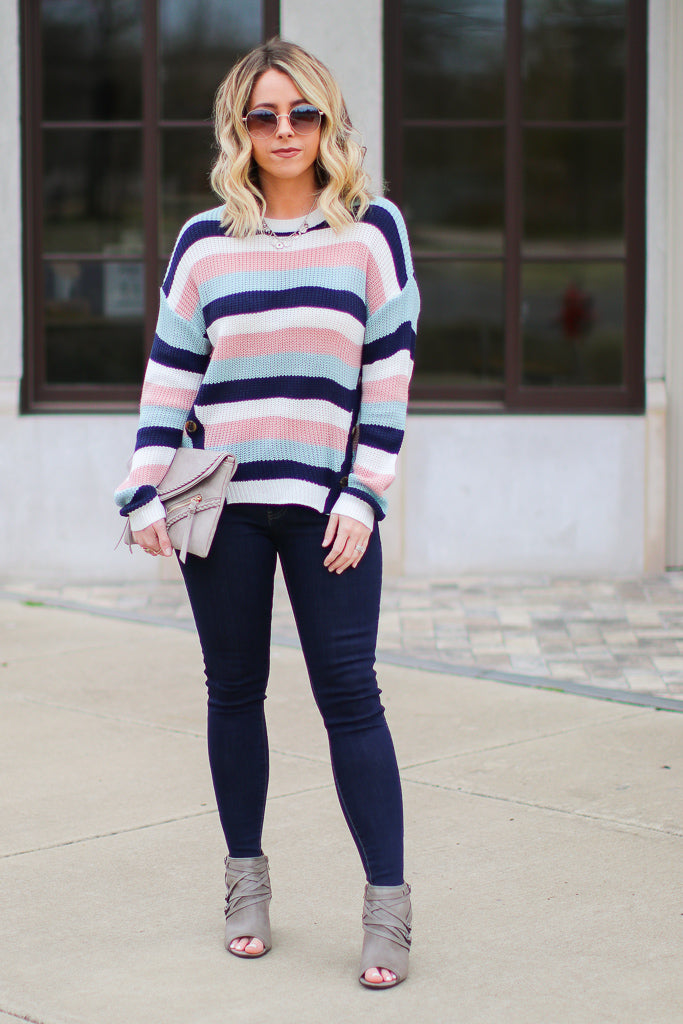 S / Multi Where We Land Striped Button Sweater - Madison + Mallory