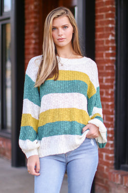 S / Teal Weekend Memories Color Block Striped Sweater - Madison and Mallory