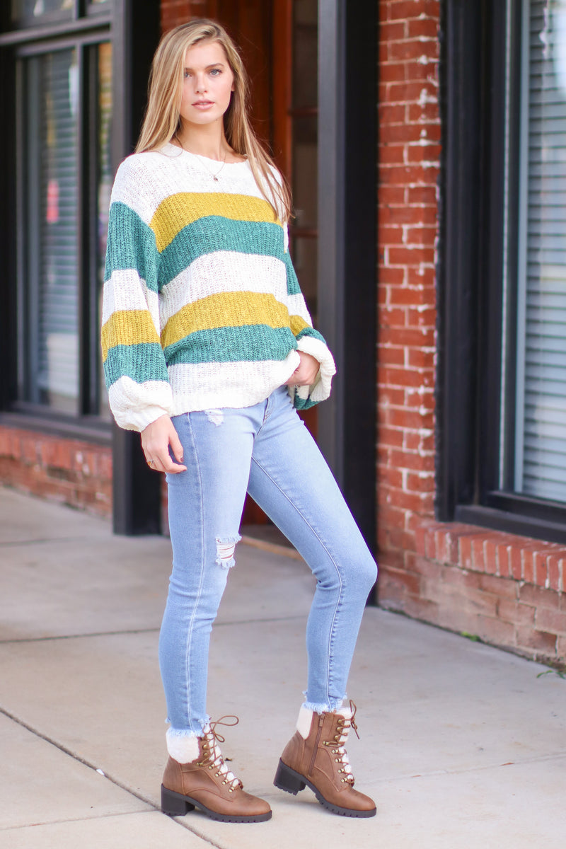 Weekend Memories Color Block Striped Sweater - Madison and Mallory