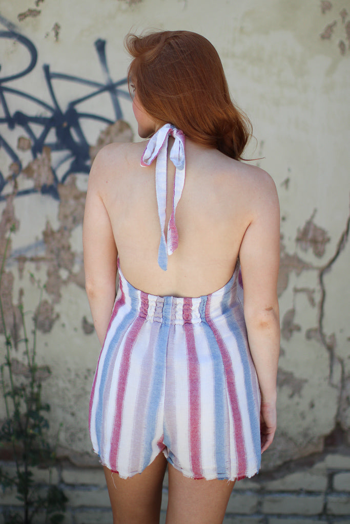 Striped Button Detail Romper - FINAL SALE - Madison + Mallory