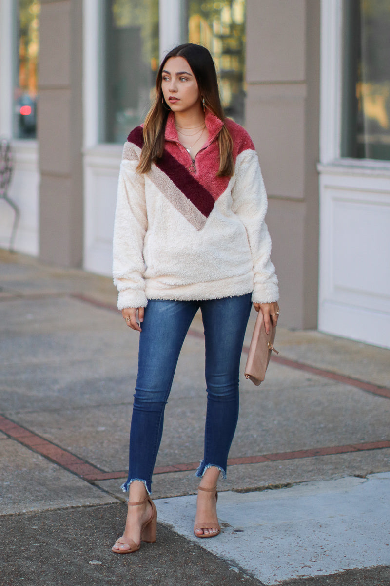 Late Night Chevron Sherpa Pullover - Madison + Mallory