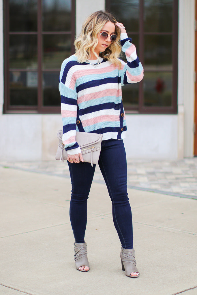 Where We Land Striped Button Sweater - Madison + Mallory