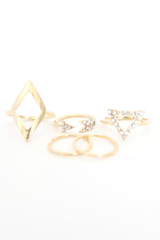 Five Gold Triangle Rings Set