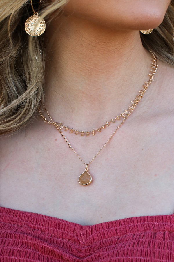 Gold Semira Layered Teardrop Necklace - Madison and Mallory