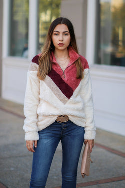 S / Mauve Late Night Chevron Sherpa Pullover - Madison + Mallory