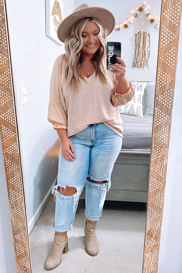 Relaxed Reality Embroidered Sleeve Top - Nude - Madison and Mallory