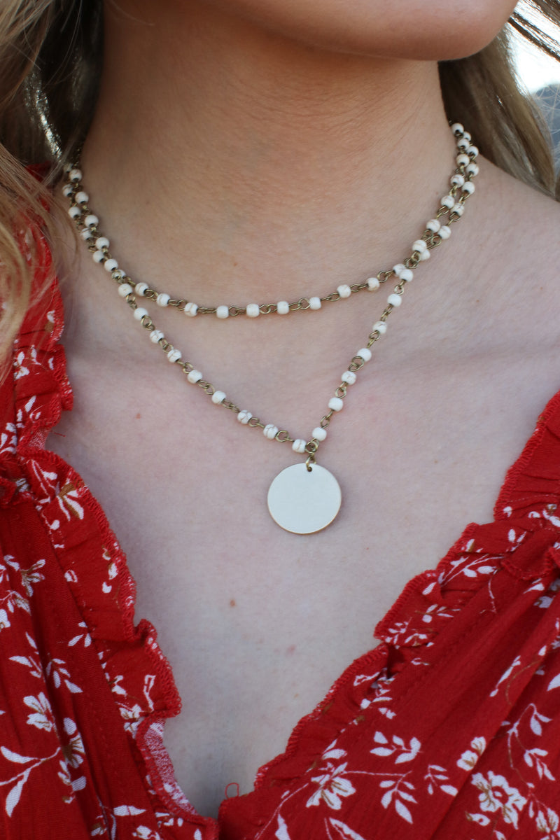 Ivory Never Overlooked Beaded Coin Necklace - Madison and Mallory