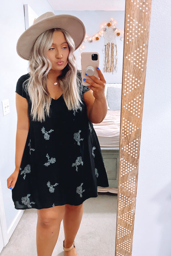 Black / S Rhythm and Rhyme Floral Embroidered Dress - Black - Madison and Mallory