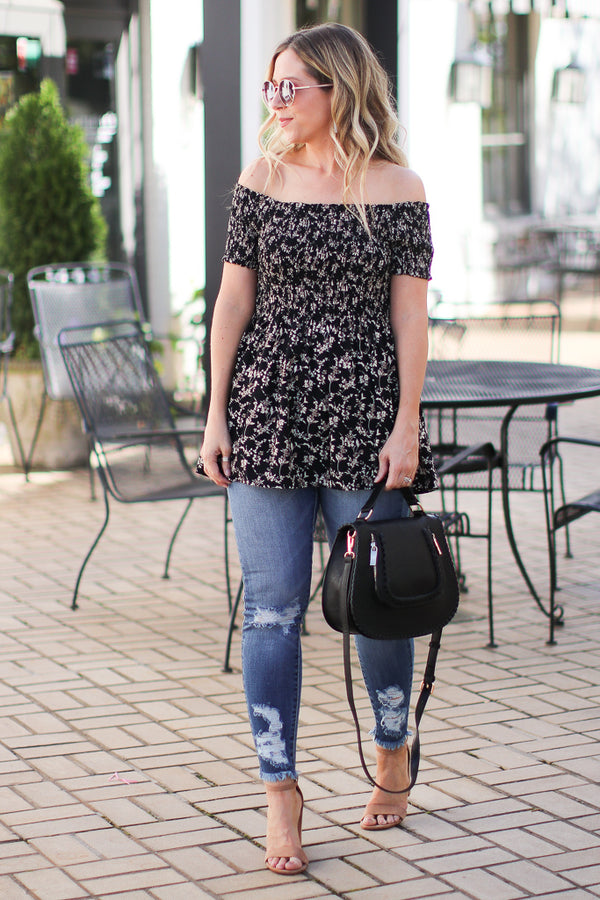 Marta Floral Smocked Top - Black - Madison + Mallory