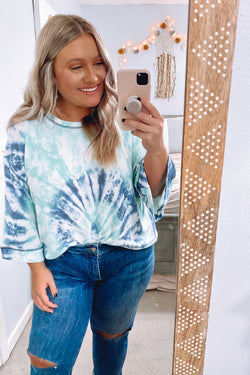 Mint / S Mythical Tie Dye Bell Sleeve Top - Madison and Mallory