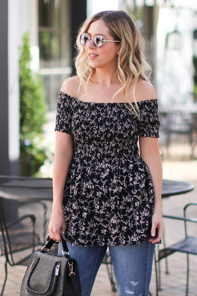 Black / S Marta Floral Smocked Top - Black - FINAL SALE - Madison + Mallory