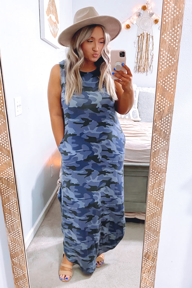 Navy / S Force of Habit Camo Maxi Dress - Navy | CURVE - Madison and Mallory