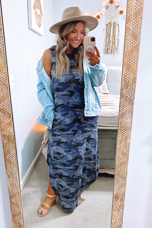 Force of Habit Camo Maxi Dress - Navy | CURVE - FINAL SALE - Madison and Mallory