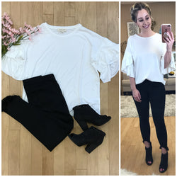 S / White 3/4 Ruffle Sleeve Top - Madison + Mallory