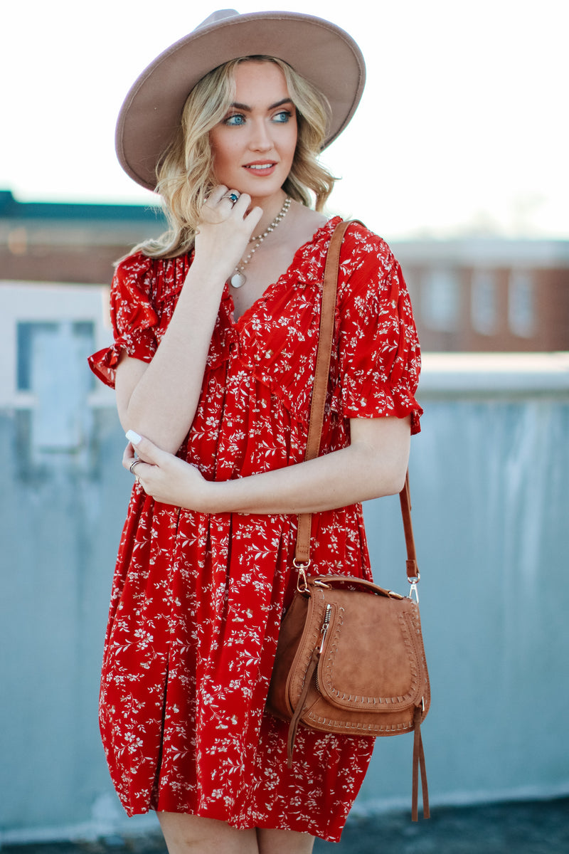 S / Burnt Orange Sunlight Floral Ruffle Dress - Madison and Mallory