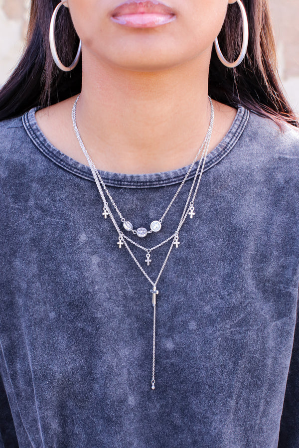 Silver Perfect Trio Cross Drop Y Layered Necklace - Madison and Mallory