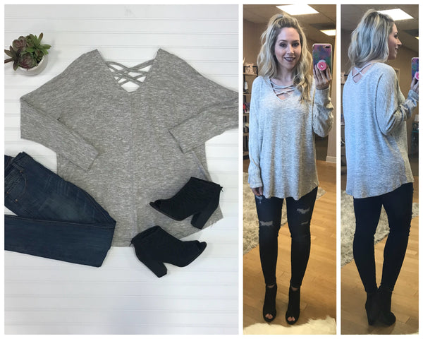S / Stone Criss Cross Marled Knit Top - Madison + Mallory