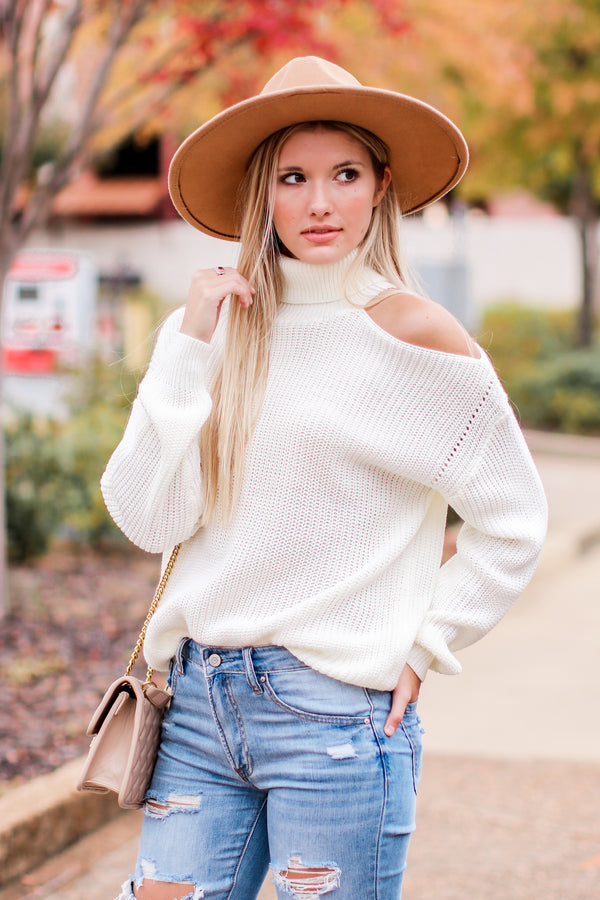 Cream / SM Adelle Cold Shoulder Cutout Sweater - Madison and Mallory