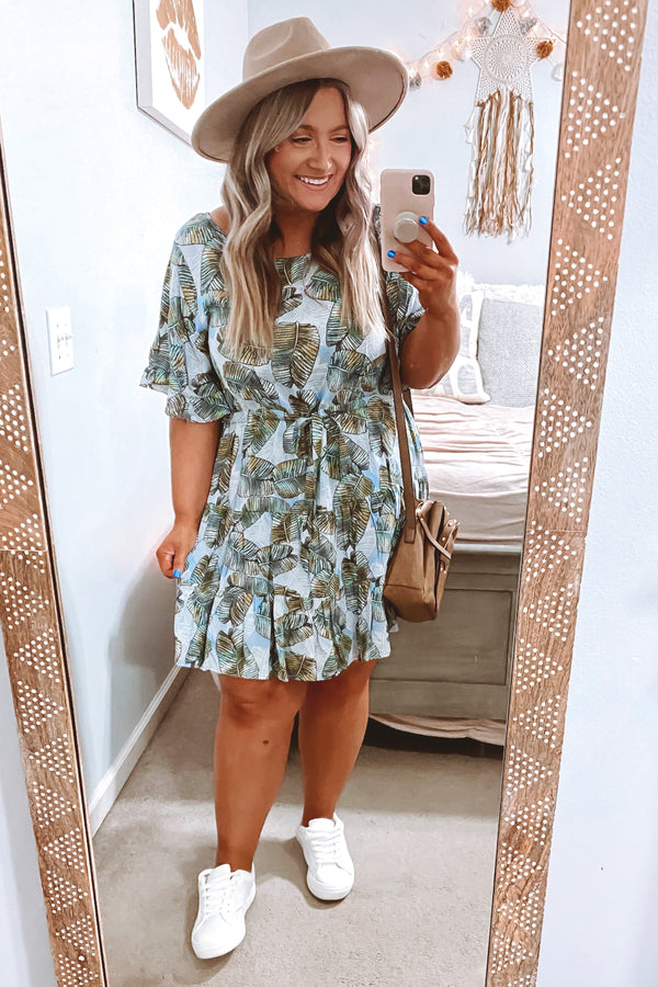 S / Dusty Blue Out To Sea Printed Dress - FINAL SALE - Madison and Mallory