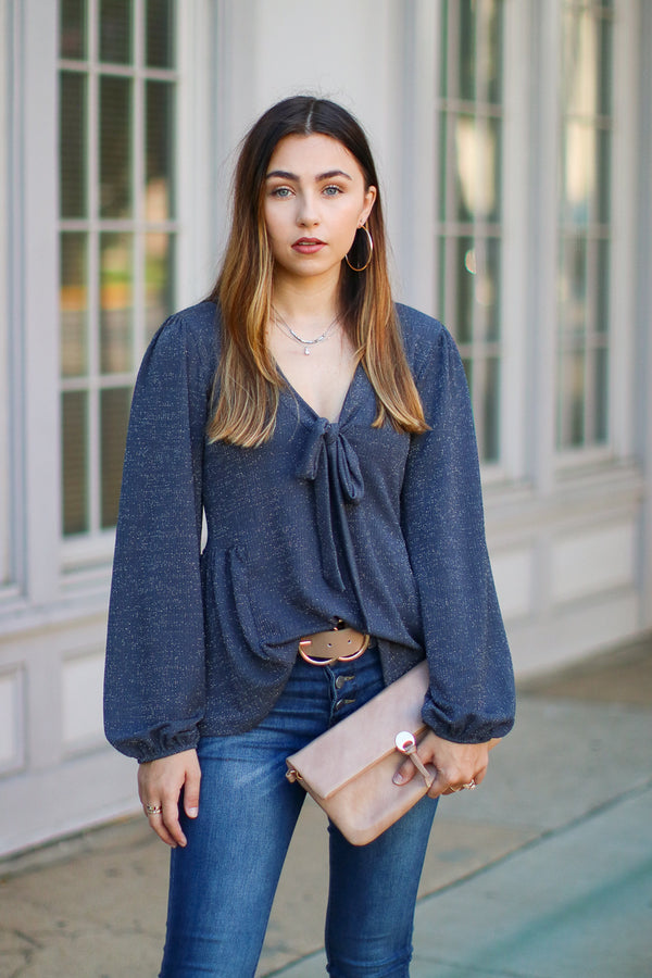 S / Charcoal Shimmering Lights Pleated Top - Madison + Mallory
