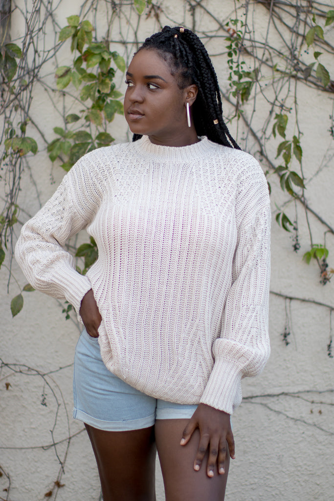 Cream / S Cadena Crochet Sweater - Madison + Mallory