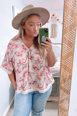 S / Pink Kiss From a Rose Flowy Top - Madison and Mallory