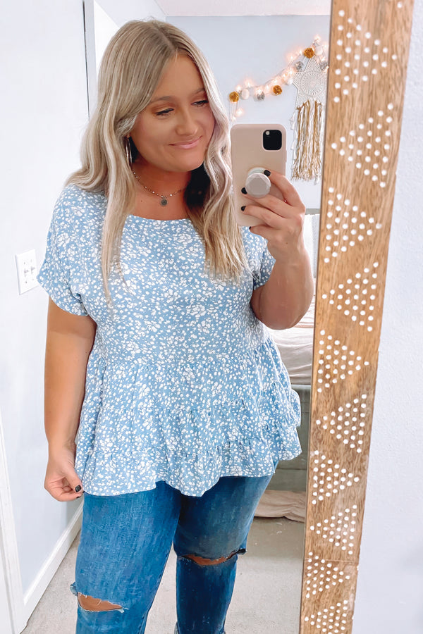 Celosia Floral Ruffle Peplum Top - Blue - Madison and Mallory