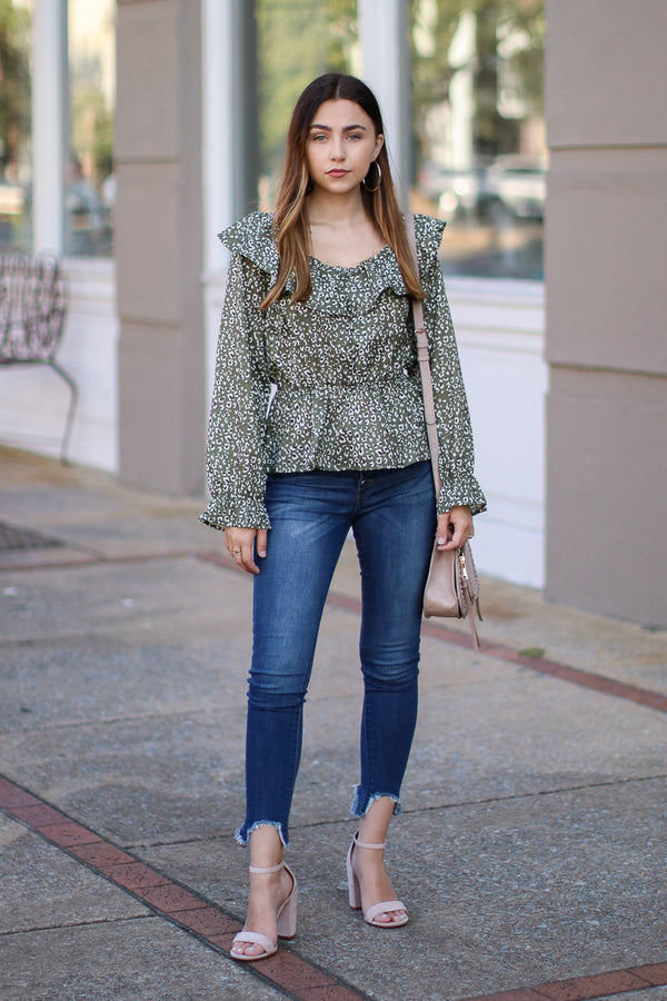 Far From Home Leopard Button Peplum Top - Madison + Mallory