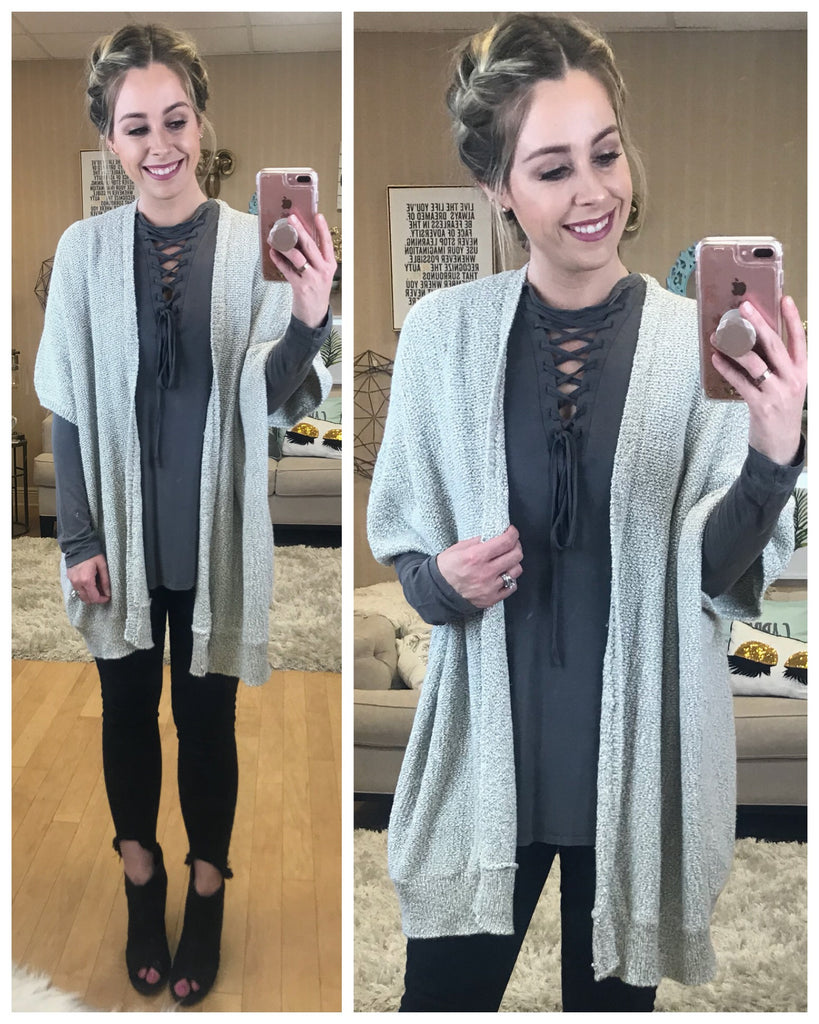 S/M / Gray Slouchy Short Sleeve Cardigan - Madison + Mallory